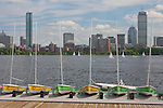 View of Boston from Cambridge across the Charles River. MA