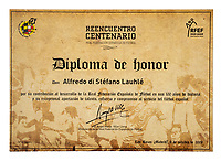 BNPS.co.uk (01202 558833)<br /> Pic: Julien'sAuctions/BNPS<br /> <br /> Pictured: Alfredo Di Stefano 2009 Madrid, Spain, Royal Spanish Football Federation Diploma.<br /> <br /> An epic collection of medals, trophies, shirts and personal items relating to footballing legend Alfredo Di Stefano is being sold by his family for over £1m.<br /> <br /> Many of the awards won by the great goalscorer have, until recently, been on display at the Real Madrid Museum, the club where he played for most of his career.<br /> <br /> The Argentine-born striker is regarded as one of the best players of all-time and is often compared to Cristiano Ronaldo.<br /> <br /> During Di Stafano's time with Real Madrid in the 1950s and '60s, the Spanish giants dominated European football, largely due to his goals and assists.