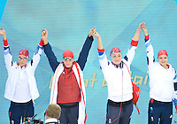July 28, 2012: Amy Smith, Francesca Halsall, Jess Lloyd, and Caitlin Mcclatchey of the Great Britain arrive to compete in Women's 4x100 meter freestyle relay final at the Aquatics center on day one of 2012 Olympic Games in London, United Kingdom.