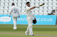 Steven Mullaney of Nottinghamshire celebrates scoring a century of runs during Nottinghamshire CCC vs Essex CCC, LV Insurance County Championship Group 1 Cricket at Trent Bridge on 7th May 2021