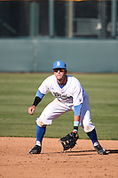 Sean Bouchard (5) of the UCLA Bruins in the field during a game against the Texas Longhorns at Jackie Robinson Stadium on March 12, 2016 in Los Angeles, California. UCLA defeated Texas, 5-4. (Larry Goren/Four Seam Images)