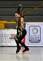 BOGOTÁ - COLOMBIA, 04-09-2018: Ivana Nouet, deportista de Argentina, durante prueba de Programa Corto, Mayores Damas en Linea, en el Campeonato Panamericano Patinaje Artístico, en el Coliseo El Salitre de la Ciudad de Bogotá. / Ivana Nouet, sportwoman from Argentina, during the Short Program Senior Ladies test, in the Panamerican Figure Skating Championship the El salitre Coliseum in Bogota City. Photo: VizzorImage / Luis Ramirez / Staff.