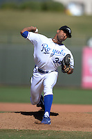 Peoria Javelinas pitcher Malcom Culver (34), of the Kansas City Royals organization, during an Arizona Fall League game against the Mesa Solar Sox on October 16, 2013 at Surprise Stadium in Surprise, Arizona.  Mesa defeated Peoria 3-1.  (Mike Janes/Four Seam Images)