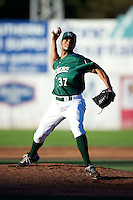 Jamestown Jammers pitcher Miguel Fermin #37 during the first game of a double header against the Hudson Valley Renegades at Russell Diethrick Park on August 6, 2012 in Jamestown, New York.  Hudson Valley defeated Jamestown 4-2.  (Mike Janes/Four Seam Images)