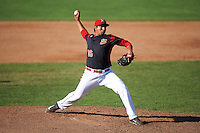 Batavia Muckdogs relief pitcher Javier Garcia (36) during a game against the West Virginia Black Bears on August 21, 2016 at Dwyer Stadium in Batavia, New York.  West Virginia defeated Batavia 6-5. (Mike Janes/Four Seam Images)