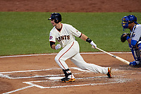 San Francisco Giants Buster Posey bats during the MLB All-Star Game on July 14, 2015 at Great American Ball Park in Cincinnati, Ohio.  (Mike Janes/Four Seam Images)