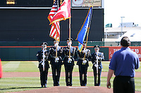 April 14, 2010:  Flag presentation for the national anthem before the opening home game vs. Pawtucket at Coca-Cola Field in Buffalo, New York.  The Bisons are the Triple-A International League affiliate of the New York Mets.  Photo By Mike Janes/Four Seam Images