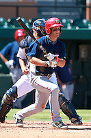 Washington Nationals minor league outfielder Bryce Harper (34) at bat during a game vs. the Detroit Tigers in an Instructional League game at Joker Marchant Stadium in Lakeland, Florida October 1, 2010.   Harper was selected in the first round, 1st overall, of the 2010 MLB Draft out of Southern Nevada Junior College;  Tigers catcher John Murrian is in back.  Photo By Mike Janes/Four Seam Images