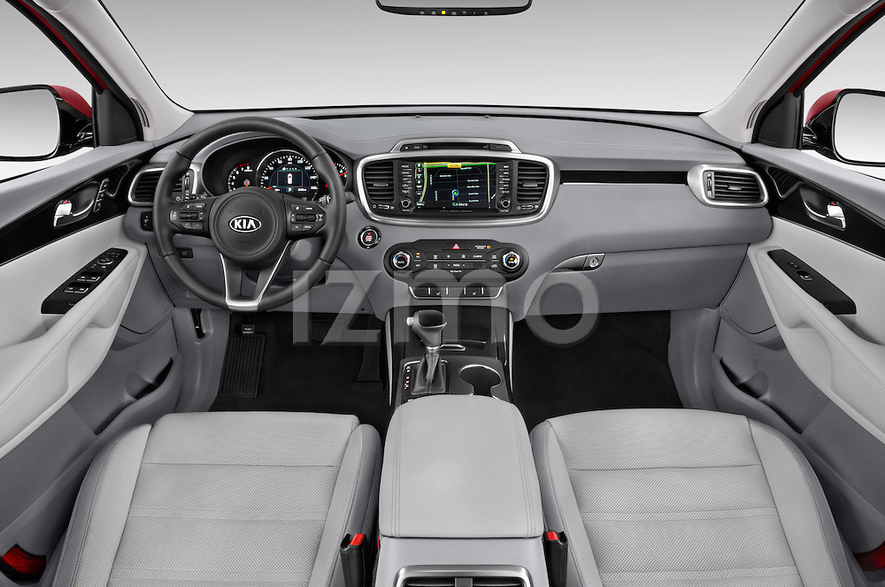 Stock photo of straight dashboard view of 2017 KIA Sorento SX V6 AT 4WD 5 Door SUV Dashboard