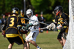 GER - Hannover, Germany, May 31: During the Men Lacrosse Playoffs 2015 match between ABV Stuttgart 1863 (white) and HTHC Hamburg (black) on May 31, 2015 at Deutscher Hockey-Club Hannover e.V. in Hannover, Germany. Final score 2:10. (Photo by Dirk Markgraf / www.265-images.com) *** Local caption *** David Ufer #3 of HTHC Hamburg, Anton Albrecht #5 of HTHC Hamburg