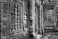 Elaborate bas relief scuptures adorn the walls and hallways of the magnificent Angkor Wat temple