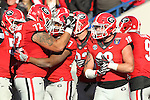 December 30, 2016: Georgia Bulldog running back Nick Chubb (27) celebrate with teammates after scoring a touchdown in the third quarter of the Autozone Liberty Bowl at Liberty Bowl Memorial Stadium in Memphis, Tennessee. ©Justin Manning/Eclipse Sportswire/Cal Sport Media