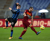 Football, Serie A: AS Roma -  FC Internazionale Milano, Olympic stadium, Rome, January 10, 2021. <br /> Roma's Henrikh Mkhitaryan (r) in action with Nicolò Barella (l) during the Italian Serie A football match between Roma and Inter at Rome's Olympic stadium, on January 10, 2021.  <br /> UPDATE IMAGES PRESS/Isabella Bonotto