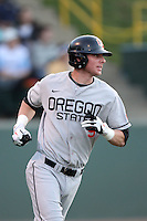 Danny Hayes #9 of the Oregon State Beavers bats against the UCLA Bruins at Jackie Robinson Stadium in Los Angeles,California on April 29, 2011. Photo by Larry Goren/Four Seam Images