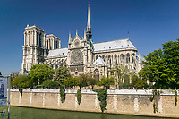 The Cathedral of Notre Dame as seen from Quai de Montebello on the left bank of the Seine River, Paris, France