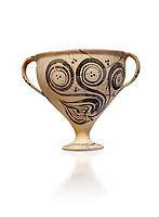 "Minoan decorated two handled Ephyraean goblet  with stylised floral design , Konssos  'Unexplored Mansion"" 1450-1370 BC; 1400-1250 BC; Heraklion Archaeological Museum, white background"
