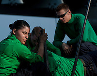 120203-N-DR144-309 ARABIAN SEA (Feb. 3, 2012) Aviation Boatswain's Mate (Equipment) Airman Tiffany Romero and other Sailors assigned to the Air Department's V-2 Division perform maintenance the the bow catapults on the flight deck aboard Nimitz-class aircraft carrier USS Carl Vinson (CVN 70). Carl Vinson and Carrier Air Wing (CVW) 17 are deployed to the U.S. 5th Fleet area of responsibility.  (U.S. Navy photo by Mass Communication Specialist 2nd Class James R. Evans/Released)