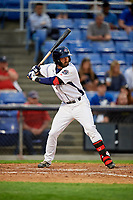Binghamton Rumble Ponies shortstop Levi Michael (3) at bat during a game against the Erie SeaWolves on May 14, 2018 at NYSEG Stadium in Binghamton, New York.  Binghamton defeated Erie 6-5.  (Mike Janes/Four Seam Images)