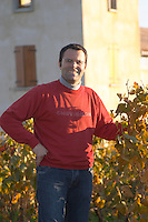 David Fourtout owner and winemaker at Vignoble Tour de Verdots in Bergerac in front of his winery in the vineyard Domaine Vignoble des Verdots Conne de Labarde Bergerac Dordogne France
