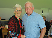 Ian Possenniskie (right) with Trish McKelvey. Cricket Wellington membership badge presentations in the Long Room at the Basin Reserve in Wellington, New Zealand on Saturday, 14 November 2020. Photo: Dave Lintott / lintottphoto.co.nz