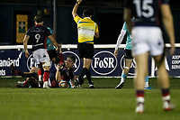 TRY - Billy Harding of London Scottish goes over for the score during the Greene King IPA Championship match between London Scottish Football Club and Nottingham Rugby at Richmond Athletic Ground, Richmond, United Kingdom on 7 February 2020. Photo by Carlton Myrie.