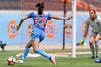 Houston, TX - Saturday April 15, 2017: Christen Press takes a shot at the Houston Dash goal during a regular season National Women's Soccer League (NWSL) match won by the Houston Dash 2-0 over the Chicago Red Stars at BBVA Compass Stadium.