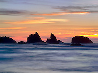 Sunset and rocks. Bandon, Oregon