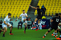 Jordie Barrett clears under pressure from brother Beauden during the rugby match between North and South at Sky Stadium in Wellington, New Zealand on Saturday, 5 September 2020. Photo: Dave Lintott / lintottphoto.co.nz