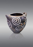 Luxury Minoan Kamares Ware storage poy with swirl olychrome decorations , Phaistos 1900-1700 BC; Heraklion Archaeological  Museum, grey background.<br /> <br /> This style of pottery is named afetr Kamares cave where this style of pottery was first found
