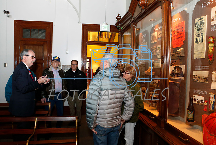 Docent Dan Neverett talks to museum visitors before the start of the celebration of the 150th year of the Carson City Mint at the Nevada State Museum, in Carson City, Nev. on Tuesday, Feb. 4, 2020. <br />Photo by Cathleen Allison/Nevada Momentum