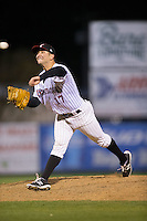 Kannapolis Intimidators relief pitcher Ryan Hinchley (17) delivers a pitch to the plate against the Hickory Crawdads at Kannapolis Intimidators Stadium on April 9, 2016 in Kannapolis, North Carolina.  The Crawdads defeated the Intimidators 6-1 in 10 innings.  (Brian Westerholt/Four Seam Images)