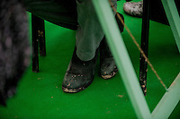 Tuesday 27 May 2014, Hay on Wye, UK<br /> Pictured: Charlie Higson's boots <br /> Re: The Hay Festival, Hay on Wye, Powys, Wales UK.