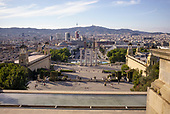 Barcelona, Spain<br /> Catalonia<br /> June 24, 2021<br /> <br /> View down on the Magic Fountain of Montjuïc and the Plaça d'Espanya from the Palau Nacional and the Museu Nacional d'Art de Catalunya.
