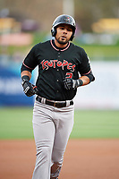 Noel Cuevas (2) of the Albuquerque Isotopes rounds the bases after hitting a home run against the Salt Lake Bees at Smith's Ballpark on April 5, 2018 in Salt Lake City, Utah. Salt Lake defeated Albuquerque 9-3. (Stephen Smith/Four Seam Images)