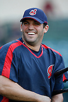Ryan Garko of the Cleveland Indians during batting practice before a game from the 2007 season at Angel Stadium in Anaheim, California. (Larry Goren/Four Seam Images)
