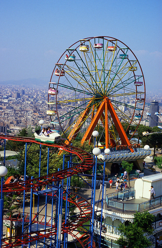 Spain, Barcelona. Fun fair at Montjuic.