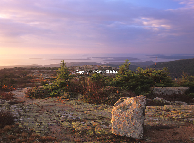 Boulder on the glaciated top of Cadillac Mountain in Acadia National Park, Maine, USA