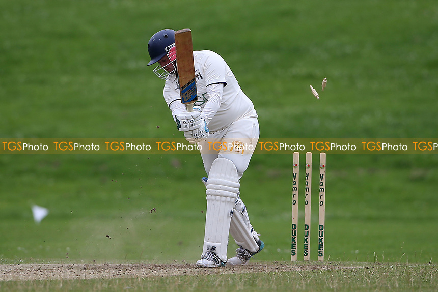 Ardleigh Green lose their sixth wicket during Ardleigh Green & Havering-Atte-Bower CC (batting) vs Newham CC, Hamro Foundation Essex League Cricket at Central Park on 10th July 2021