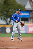 Hartford Yard Goats third baseman Josh Fuentes (13) during a game against the Erie SeaWolves on August 6, 2017 at UPMC Park in Erie, Pennsylvania.  Erie defeated Hartford 9-5.  (Mike Janes/Four Seam Images)