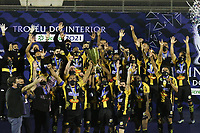 Novo Horizonte (SP), 20/05/2021 - Novorizontino-Ponte Preta - Jogadores do Novorizontino comemoram título do trofeu do interior. Partida entre Novorizontino e Ponte Preta válida pela final do troféu do interior no estádio Jorge Ismael de Biasi em Novo Horizonte, nesta noite de quinta-feira (20).