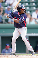 Right fielder Shean Michel (28) of the Rome Braves in a game against the Greenville Drive on Sunday, August 8, 2021, at Fluor Field at the West End in Greenville, South Carolina. (Tom Priddy/Four Seam Images)