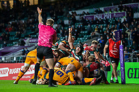 21st May 2021; Twickenham, London, England; European Rugby Challenge Cup Final, Leicester Tigers versus Montpellier; Jasper Wiese of Leicester Tigers scores a try to put them ahead 15-10