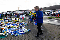 Pictured: Tributes for Emiliano Sala laid down outside the Cardiff City Stadium in south Wales, UK. Friday 25 January 2019<br /> Re: Premier League footballer Emiliano Sala was on a flight which disappeared between France and Cardiff.<br /> The Argentine striker was one of two people on board the Piper Malibu, which disappeared off Alderney on Monday night.<br /> Cardiff City FC, signed the 28-year-old from French club Nantes.