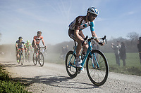 Hugo Houle (CAN/AG2R-LaMondiale) finding his way through the dust on the 2nd Plugstreet section<br /> <br /> 79th Gent - Wevelgem 2017 (1.UWT)