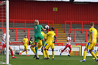 Chris Haigh of Concord Rangers FCjumps and catches a cross during Stevenage vs Concord Rangers , Emirates FA Cup Football at the Lamex Stadium on 7th November 2020
