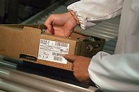 """- chickens breeding of """" Amadori """" group in Cesena, wrapping unit, traceable label  ....- allevamento di polli del gruppo """"Amadori"""" a Cesena, reparto confezione, etichetta per la tracciabilità del prodotto"""