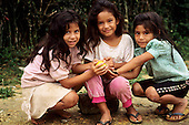 San Ignacio, Peru. Three young Peruvian Andean Indian Quechua girls.