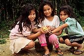 San Ignacio, Peru. Three young Peruvian Andean Indian Quechua girls.