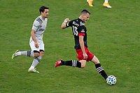WASHINGTON, DC - NOVEMBER 8: Frederic Brillant #13 of D.C. United passes the ball during a game between Montreal Impact and D.C. United at Audi Field on November 8, 2020 in Washington, DC.
