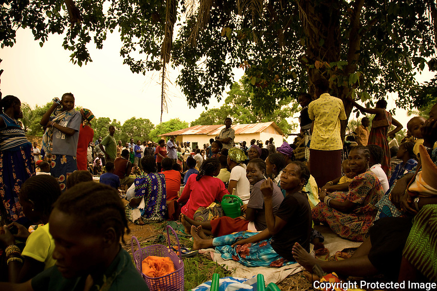 Food distribution Nzara, South Sudan..Recent  attacks by the LRA  sent thousands of refugees to the  small hamlet.